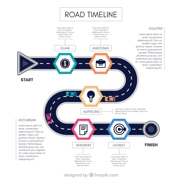 Infographic timeline concept with road Free Vector