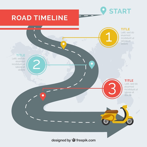 Infographic timeline concept with street Free Vector