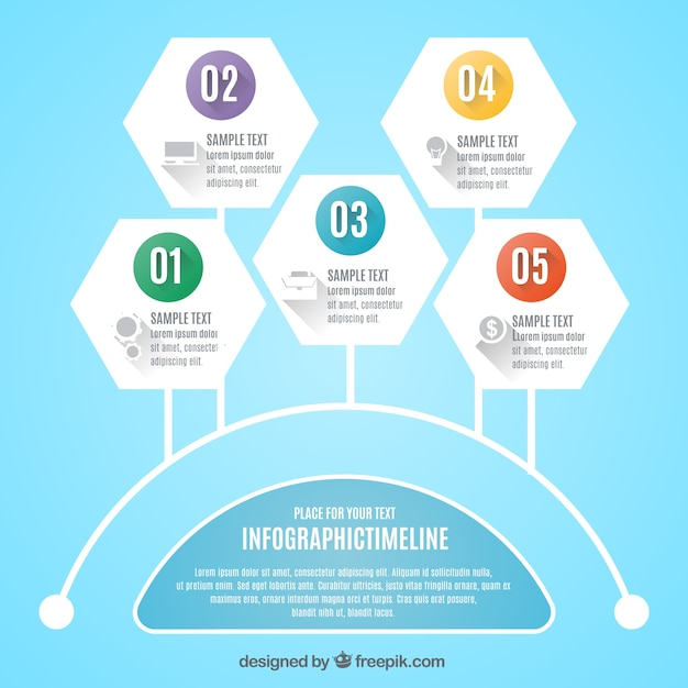 Infographic timeline design Free Vector