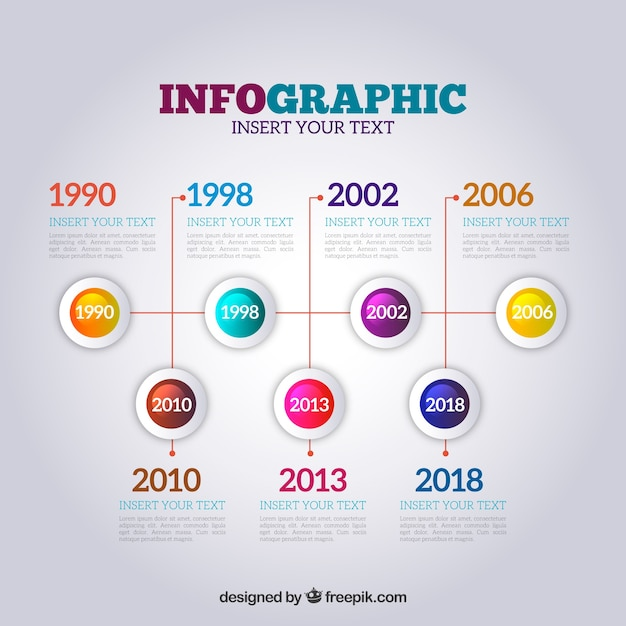Infographic timeline in realistic style Free Vector
