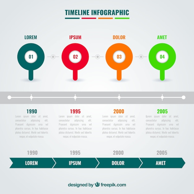 Infographic timeline with colorful circles
