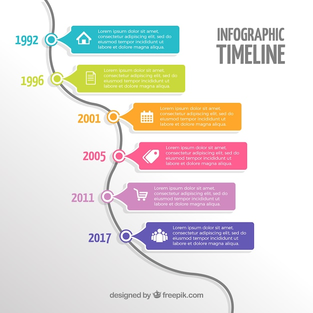 infographic timeline with colorful style vector