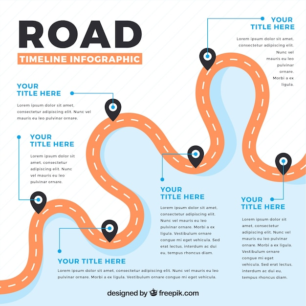 Infographic timeline with road concept Free Vector