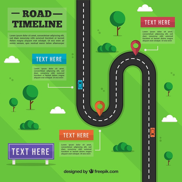 Infographic timeline with street concept Free Vector