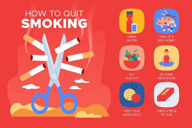 禁煙のためのインフォグラフィックのヒント 無料ベクター