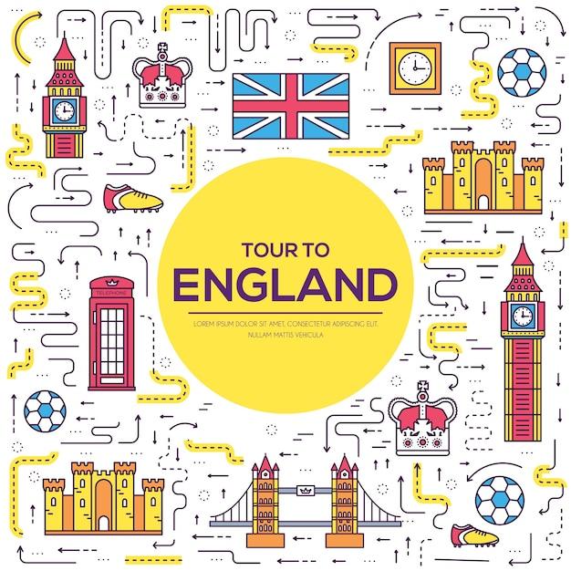 Традиционные этнические инфографики. страна англия, путешествия, отпуск, путеводитель по товарам, местам и особенностям. Premium векторы