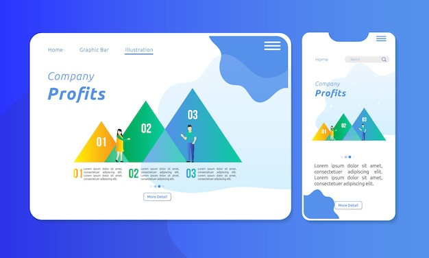 Infographic in triangle chart bar for corporate presentation Premium Vector