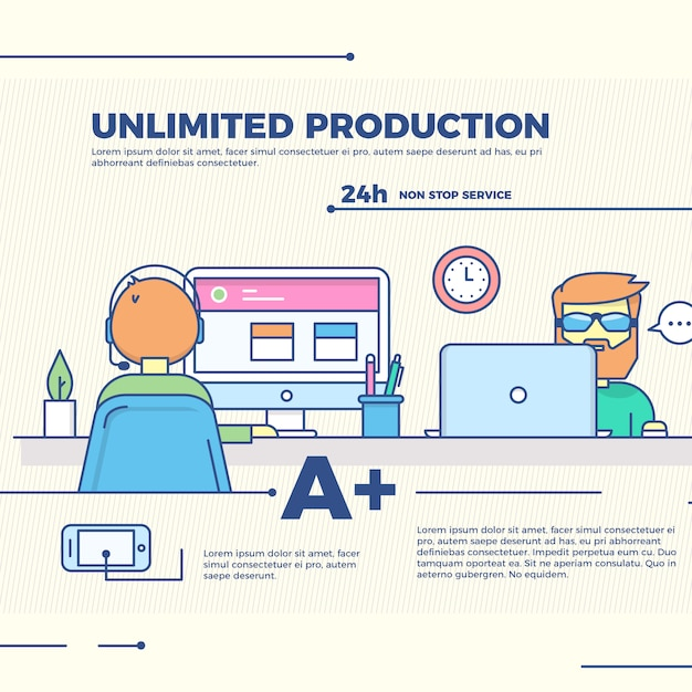 Infographic unlimited production illustration Free Vector