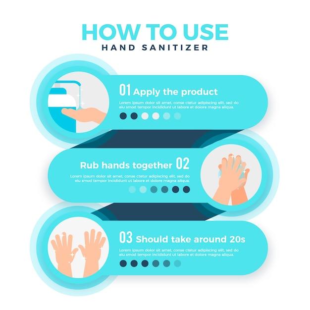 Infografica per l'utilizzo di un disinfettante per le mani con dettagli Vettore gratuito