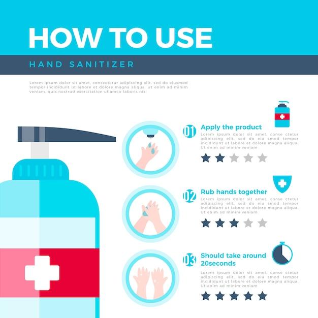 Infografica per l'utilizzo di un disinfettante per le mani Vettore gratuito