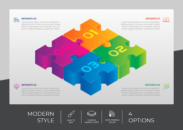 Infographic vector design with 4 options and puzzle concept Premium Vector