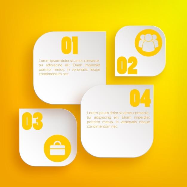 Инфографическая веб-бизнес-концепция с текстовыми светлыми веб-элементами и значками Бесплатные векторы