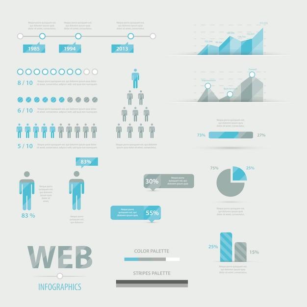 Infographic web business icon set vector Premium Vector