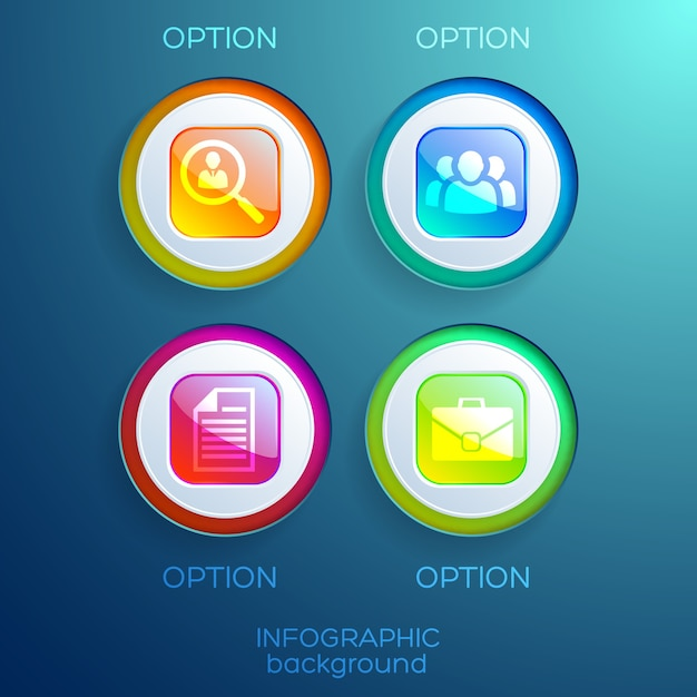 カラフルな光沢のある正方形のボタンとビジネスアイコンが分離されたインフォグラフィックウェブデザインコレクション 無料ベクター