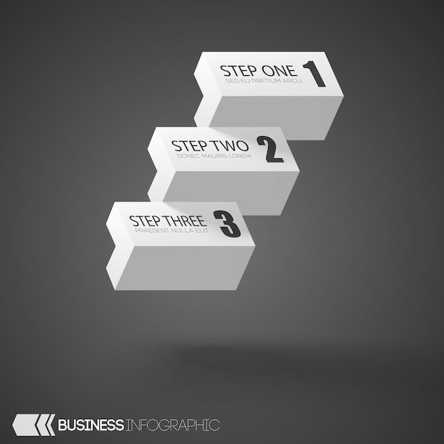 Инфографики белые кирпичи с тремя ступенями на сером Бесплатные векторы