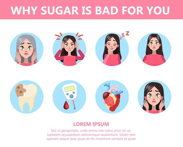 Инфографика, почему слишком много сахара вредно для вас. Premium векторы
