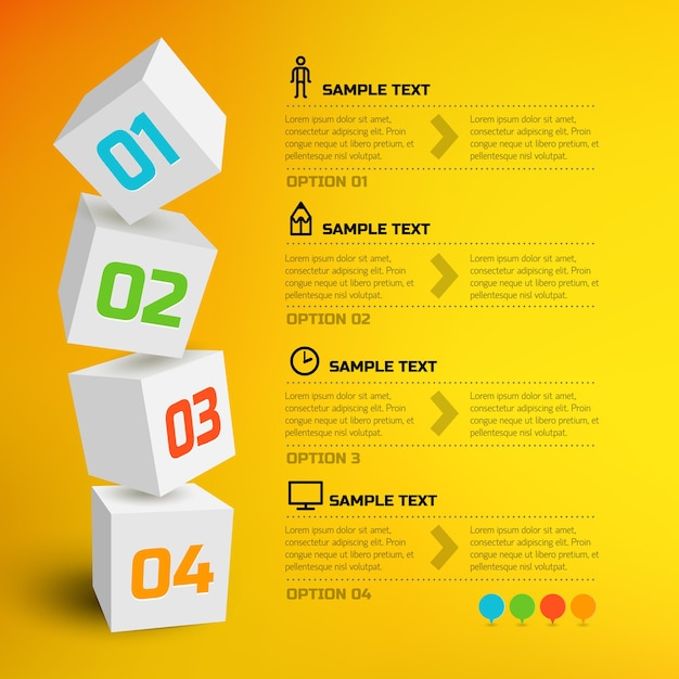 Infographic with 3d cubes Free Vector
