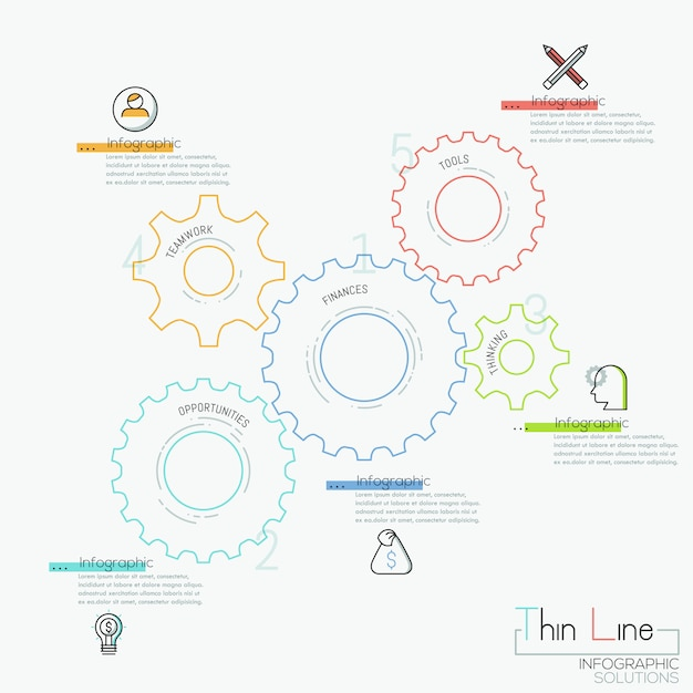 Infographic  with 5 gear wheels, pictograms and text boxes Premium Vector