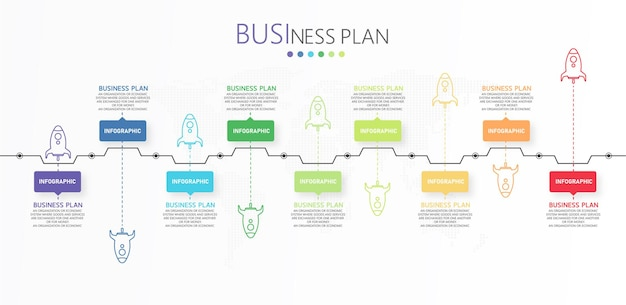 Infographic with 9 elements project plan start step design template flat infographic Premium Vector