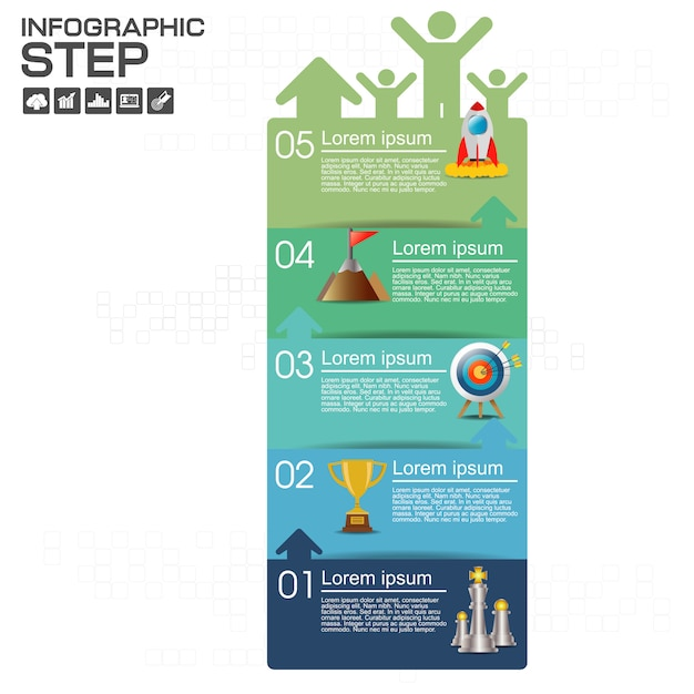 Infographic with business  icons Premium Vector