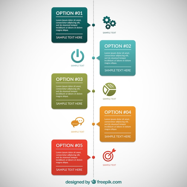 Infographic with colored speech bubbles Free Vector