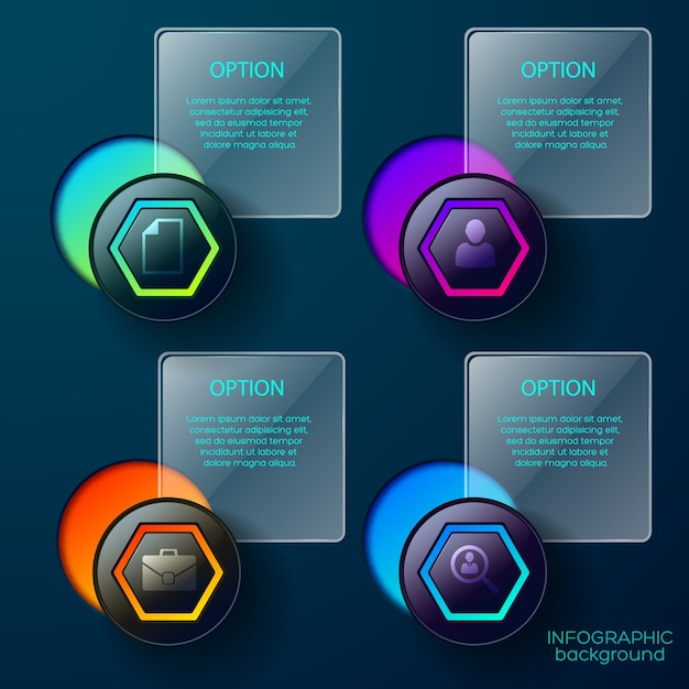 Infographic  with conceptual icons of business buttons gradient shapes and text captions square boxes Free Vector