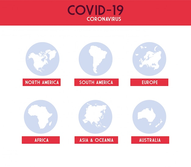 Infographic with continents from planet earth affected by coronavirus Premium Vector