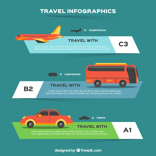 Infographic with different transports Free Vector