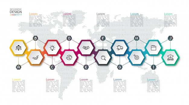 Infographic with hexagons on map Premium Vector