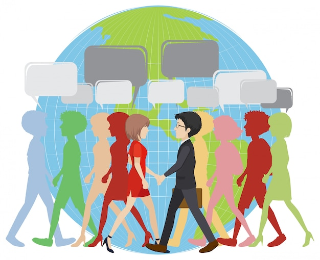 Infographic with people walking on earth Free Vector