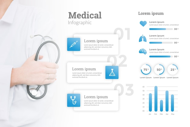 Infographic with photo of doctor Free Vector