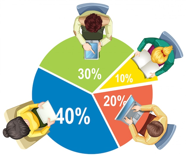 Infographic with piechart and business people Premium Vector