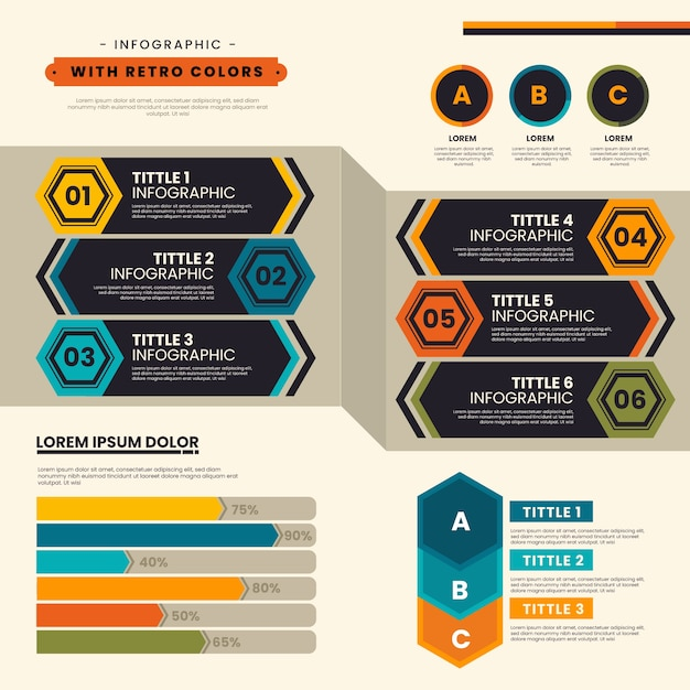Infographic with retro colors in flat design Free Vector
