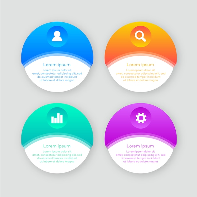 Infographic with rounded shape Free Vector
