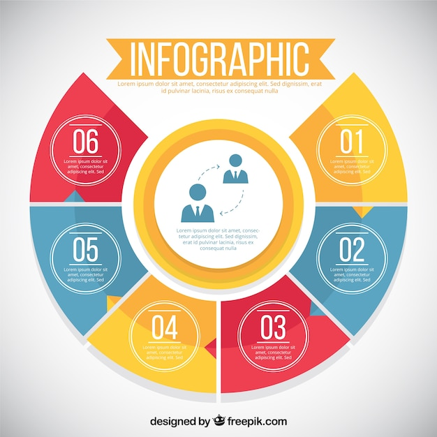 Infographic with six colorful options Vector   Free Download