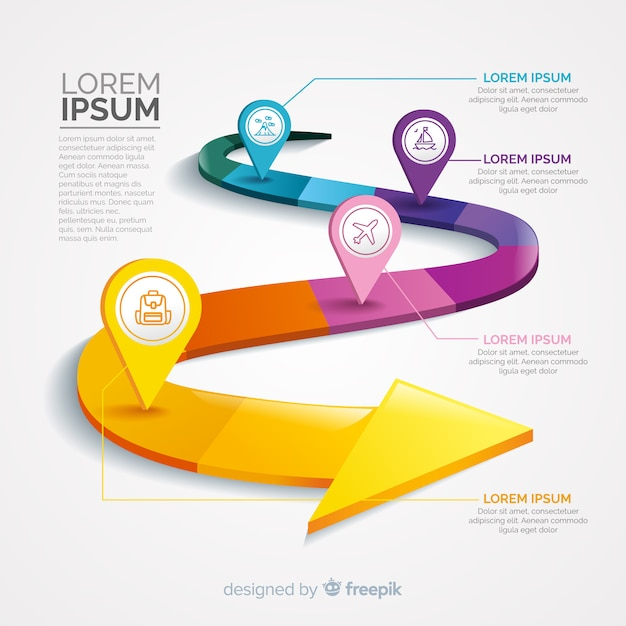 Infographic with step and options Free Vector