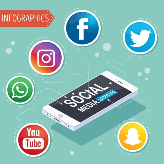 Infographic with symbols of social networks Free Vector