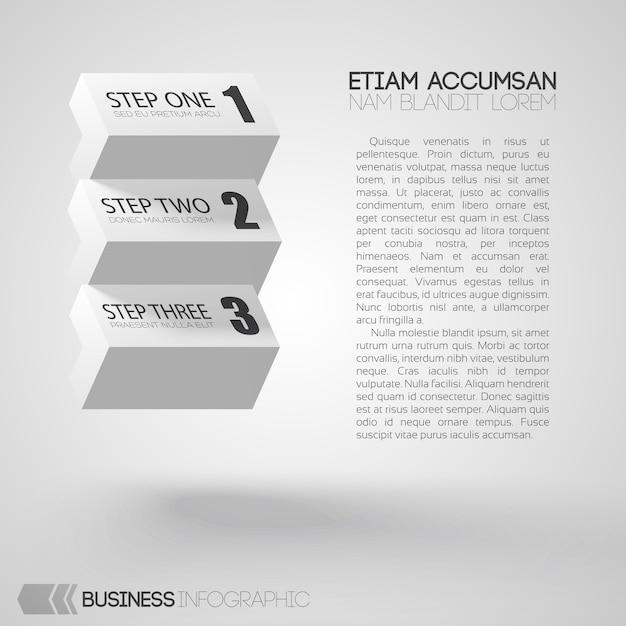 Инфографика с текстом и белыми кирпичами с тремя шагами на сером Бесплатные векторы