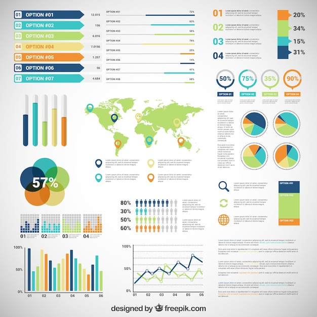 Infographic with variety of diagrams Free Vector