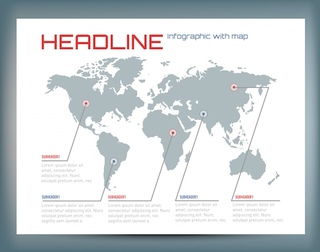 Of infographic with the world map and text. Premium Vector