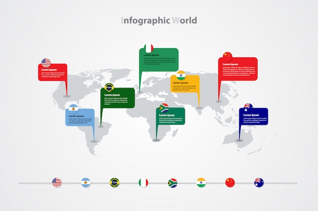 Infographic world map template, global international flags sign Premium Vector