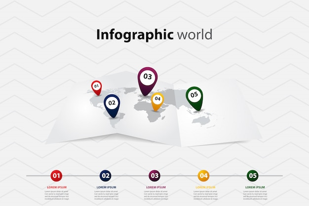 Infographic world map, transport communication and information plan position Premium Vector