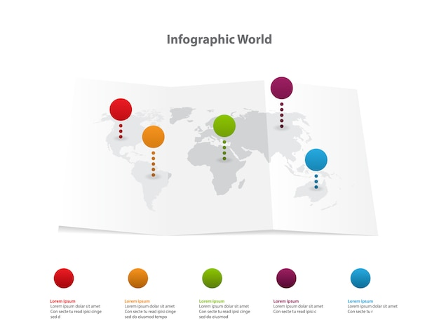 Infographic world map, transport communication information plan position Premium Vector