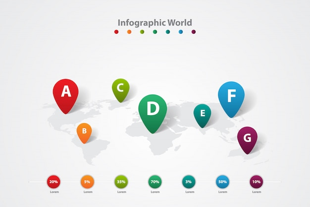 Infographic world map, transport communication information plan Premium Vector