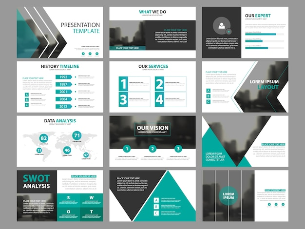 ビジネスプレゼンテーションのinfographic要素テンプレートセット、年次報告書企業の水平パンフレットデザインテンプレート Premiumベクター