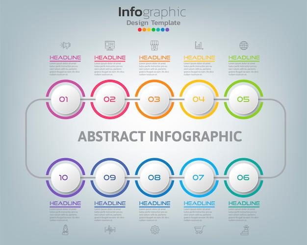 Абстрактная диаграмма процесса infographic с вариантами и значки может использовать для вашего дизайна. Premium векторы