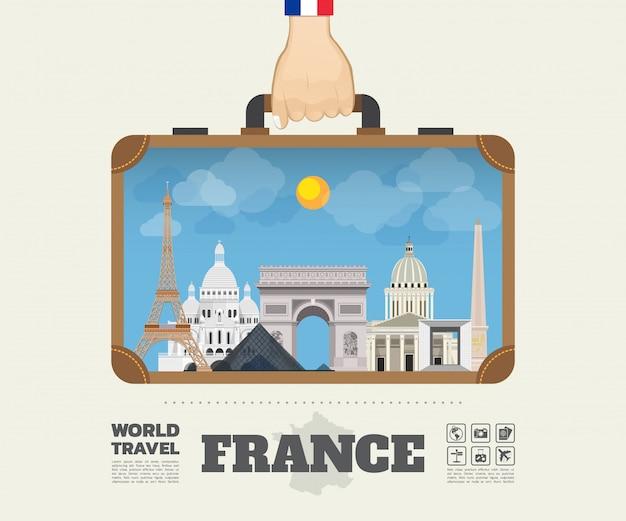 Рука нося сумку infographic перемещения и путешествия ориентир ориентира франции глобальную. Premium векторы
