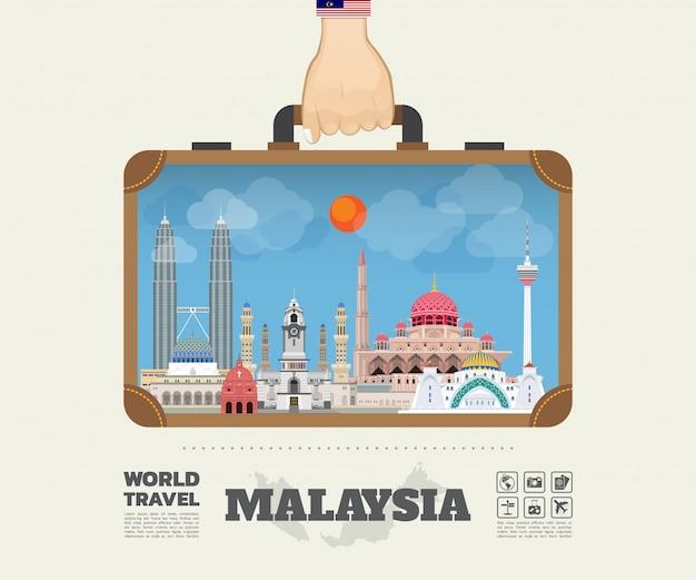Рука нося мешочек infographic ориентир ориентира глобального путешествия и малайзии. Premium векторы