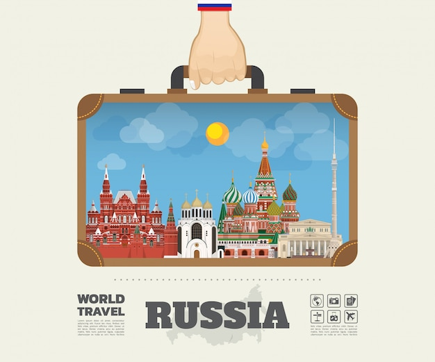 Рука нося мешок infographic перемещения и путешествия ориентир ориентира россии глобальный. , Premium векторы