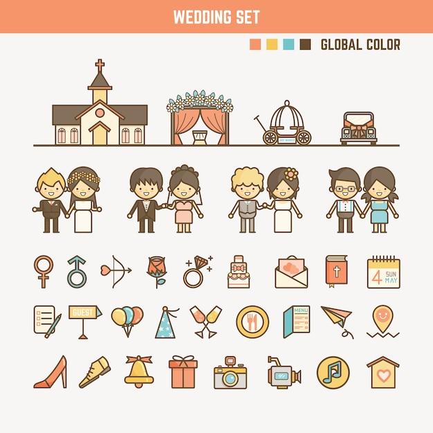 子供のための結婚式のinfographic要素 Premiumベクター